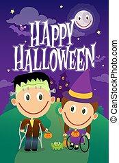 strega, frankenstein, ragazzo, crutches, vestito, night., halloween, carrozzella, ragazza