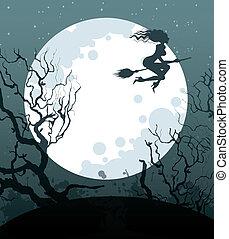 strega, halloween, fondo