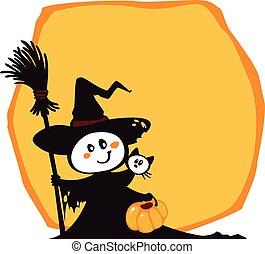 strega halloween, gatto, giallo, fondo.