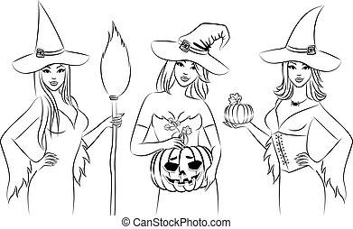strega, halloween, ragazze, style.