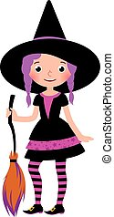 strega, ragazza, costume halloween, broom.eps