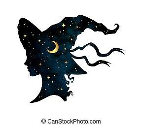 strega, ragazza, silhouette, cappello, pointy