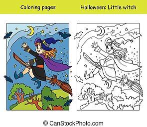 strega, scopa, esempio, colorato, coloritura, halloween