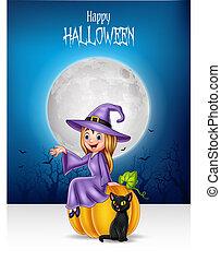 strega, seduta, nero, poco, cartone animato, gatto, halloween, zucca