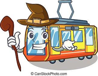 strega, treno elettrico, giocattoli, forma, mascotte