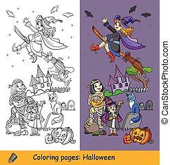 strega, vettore, coloritura, illustrazione, halloween, mummia