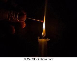 streichhoelzer, licht, brennender, kerze