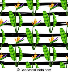 Colorful bright flowers on stripes black and white modern background.