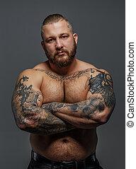 streng, tattooes, mann, brutal, bart