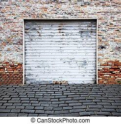 strengelen, garage deur, op, baksteen muur