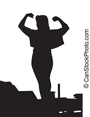 Strength - A strong powerful girl showing her muscles