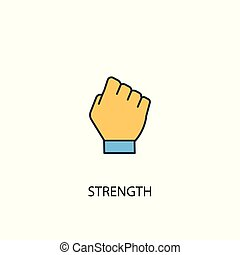 Strength concept 2 colored line icon. Simple yellow and blue element illustration. Strength concept outline design