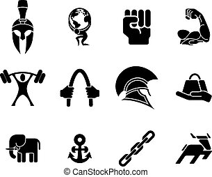 Strength icons - An icon set of many hundred top quality...