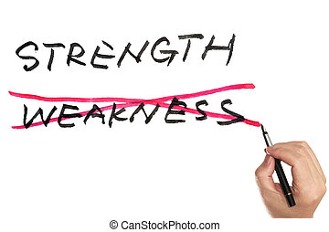 Strength or weekness - Hand holding a pen and choosing ...