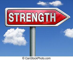 strength road sign arrow