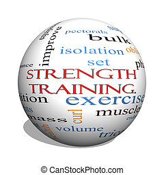 Strength Training 3D sphere Word Cloud Concept