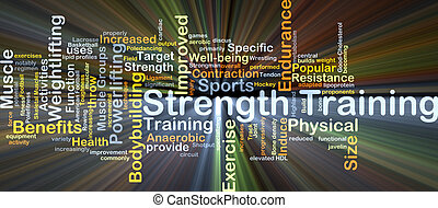 Strength training background concept glowing