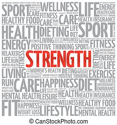 Strength word cloud background