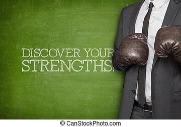 strengths, hombre de negocios, pizarra, su, descubrir