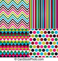 strepen, zigzag, polka, seamless, punt
