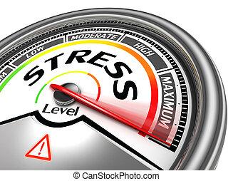 stres, plochý, maximum, měřič, pojmový, ukazovat