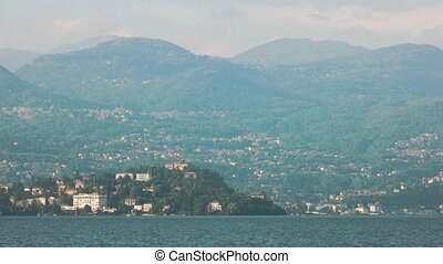 Stresa and Alps. View from Maggiore lake.