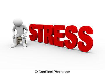 stress, 3d, parola, uomo
