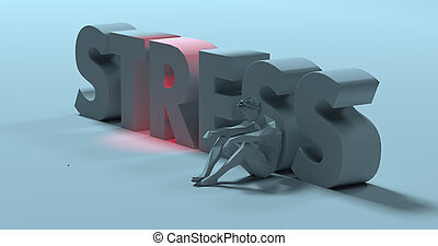 Stress - 3d render text sign, near sad exhausted man, illustration