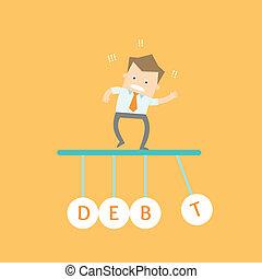 stress, affari, dovuto, tempo, debito, fuori, uomo