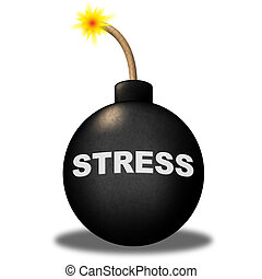 Stress Alert Shows Hazard Explosive And Stressed - Stress...