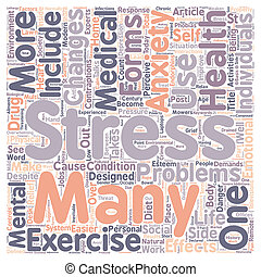 Stress and Anxiety in Post Modern Society text background wordcloud concept