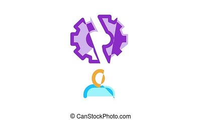 Stress And Depression Icon Animation Anti Stress Pills And Alcoholic Drink Bottle, Angry Human And With Burning Head
