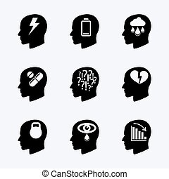 Stress and depression vector icon set. Questions and load,...