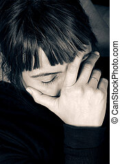 Stress and Headache - Woman in stress and pain, hand on...
