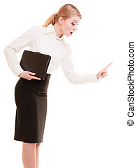 Stress. Angry business woman teacher shaking finger