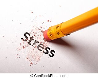 stress at business office concept with pencil and eraser