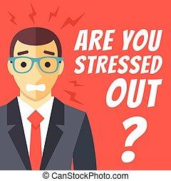 Stress at work concept flat design