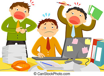 stress at work - worker stressed out by noisy colleagues and...