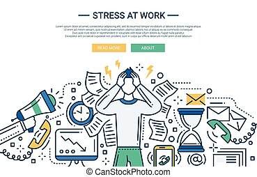 Stress at work - line flat design website banner