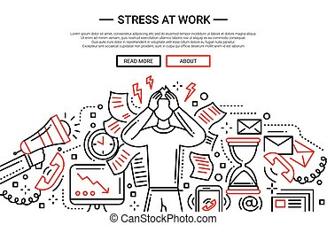 Illustration of vector modern plain line flat design business composition and infographics elements with a male having stress at work