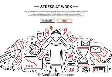 Stress at work - line flat design website banner -...