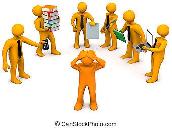 Stress At Work - One orange cartoon character has stress at ...