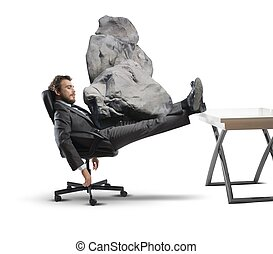 Stress at work - Concept of stress at work with businessman...