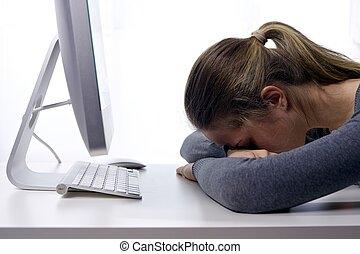 Stress at workplace. Sleepy student