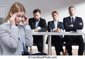 Stress before job interview - Stressed young woman before...