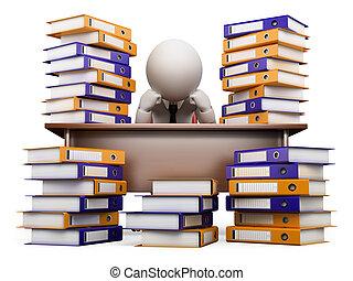 stress, bianco, persone., ufficio, 3d