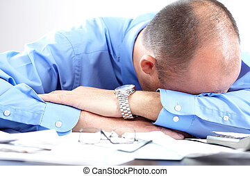 Stress. Businessman in the office - In the office. ...