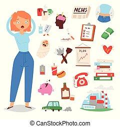 Stress cartoon woman girl character vector illustration -...