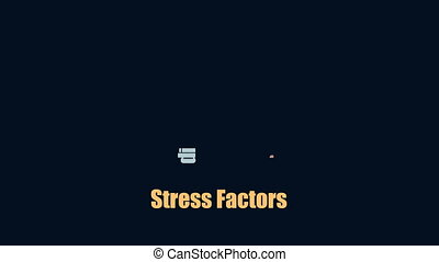 Stress causes modern human health issue typography concept HD format footage.