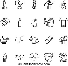 Stress causes outline icon collection. Vector illustration why people are stressed.